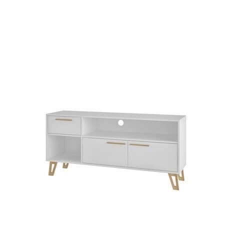 Doris White 53.14 In. Mid Century Modern 1 Drawer TV Stand