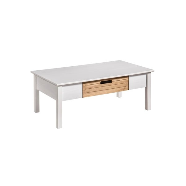 Mid-Century Modern Irving White/ Natural Coffee Table