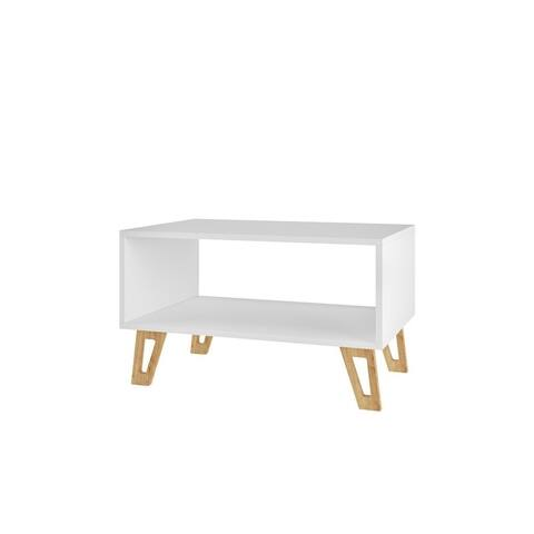 Mid Century Modern Doris 26.57 In. 1- Open Cubby White Coffee Table