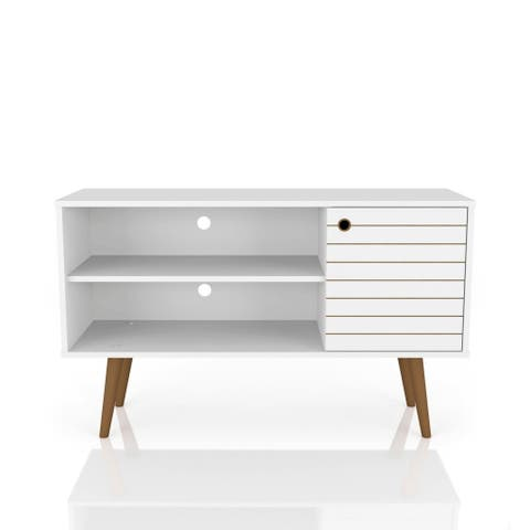 Mid Century Modern Liberty 42 In. 2 Shelf White TV Stand