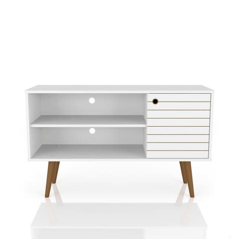 Mid Century Modern Liberty 42 In. 2 Shelf White TV Stand