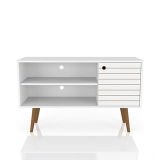 Link to Mid Century Modern Liberty 42 In. 2 Shelf White TV Stand Similar Items in TV Stands & Entertainment Centers