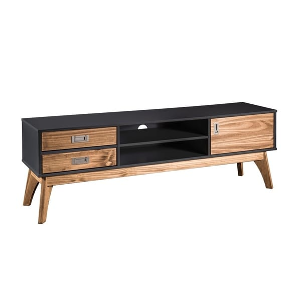 Rustic Mid-Century Modern 3-Drawer Jackie 59.05 In. TV Stand