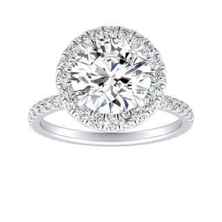 Auriya 14k Gold 3ct Round Moissanite and 5/8ct Diamond Halo Engagement Ring