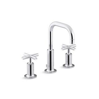 Kohler K-14406-3 Purist Widespread Lavatory Faucet With Low Gooseneck Spout And Low Cross Handles
