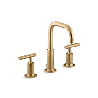 Kohler Purist Lever Handles Low Gooseneck Bathroom Sink Faucet