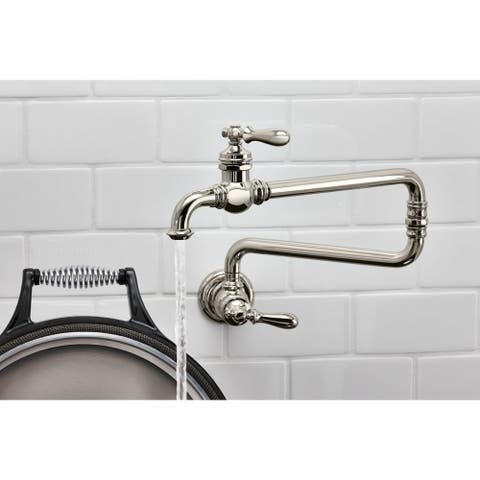 "Kohler Artifacts Single-Hole Wall-Mount Pot Filler Kitchen Sink Faucet with 22"" Extended Spout"