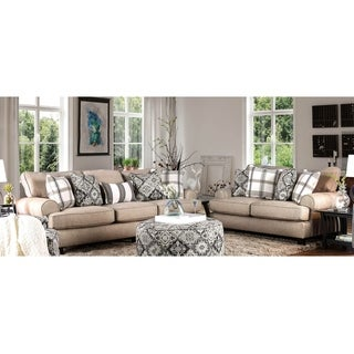 Furniture of America Moro 2-Piece Stain Resistant Beige Faux Linen Sofa Set