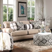 Furniture of America Moro Stain Resistant Beige Faux Linen Sofa