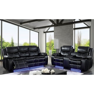 Furniture of America Manhattan 2-Piece Black Power Assist Sofa Set