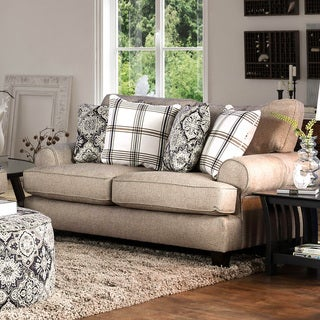 Furniture of America Moro Stain Resistant Beige Faux Linen Loveseat
