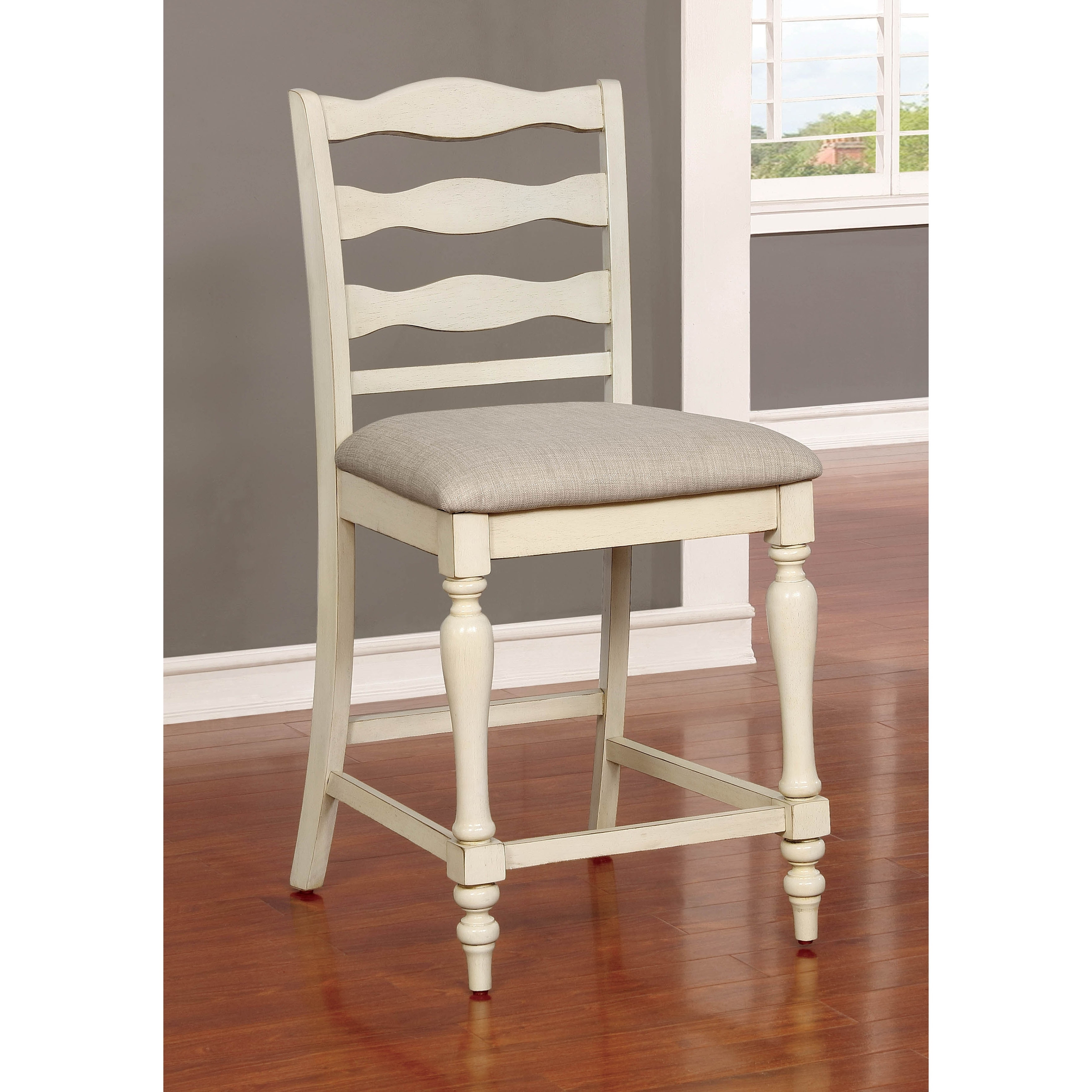 Ames Rustic Antique White Counter Height Chair Set Of 2 By Foa