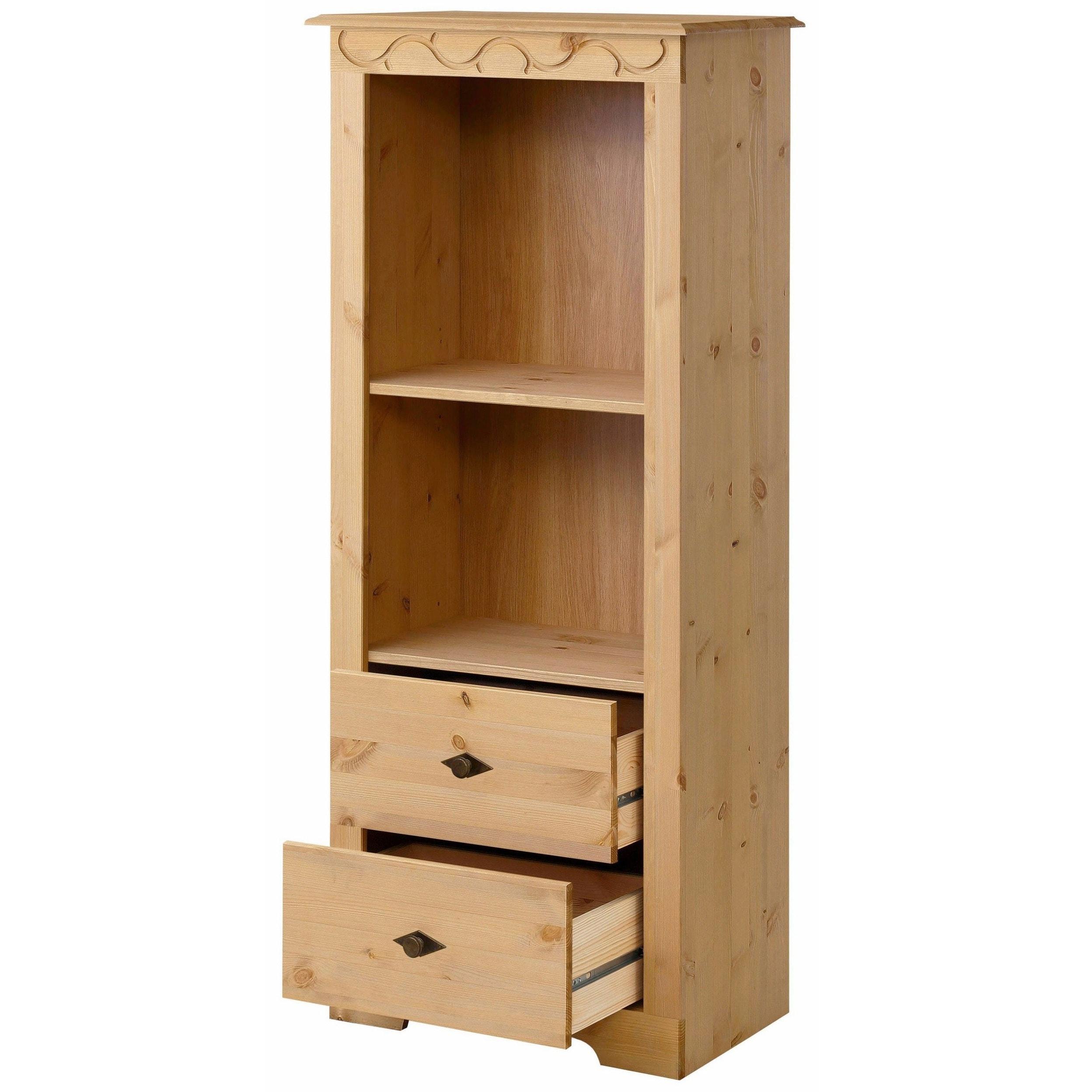 Lando Bookcase Low Solid Pine Natural