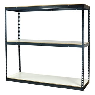 Shelving-Pro Garage Shelving Boltless, 72 x 24 x 72, Heavy Duty, Double Rivet Beams, 3 Shelves