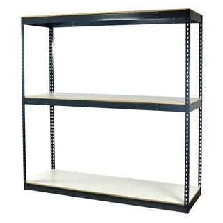 Shelving-Pro Garage Shelving Boltless, 72 x 24 x 72, Heavy Duty, Double Rivet Beams, 3 Shelves