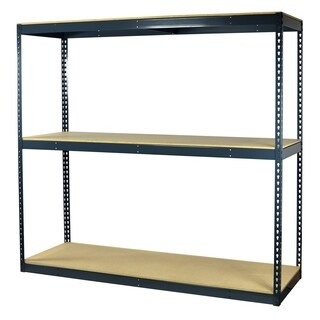 Shelving-Pro Garage Shelving Boltless, 96 x 18 x 72, Heavy Duty, Double Rivet Beams, 3 Shelves