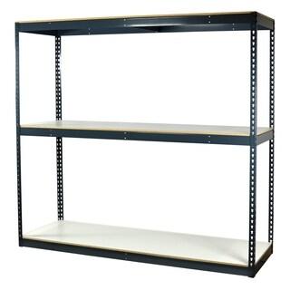 Shelving-Pro Garage Shelving Boltless, 72 x 48 x 72, Heavy Duty, Double Rivet Beams, 3 Shelves
