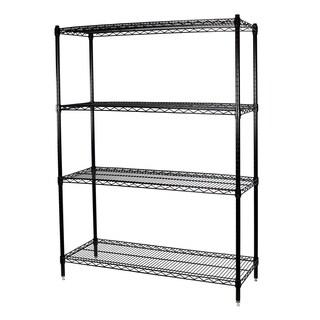 Shelving-Pro Black Wire Shelving Unit, 18 x 48 x 74, 4 Shelves