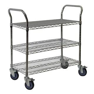 Shelving-Pro Chrome Wire Shelving Cart, 24 x 36, 3 Shelves
