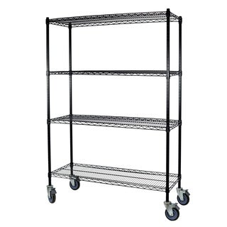 Shelving-Pro Black Wire Shelving with Wheels, 24 x 48 x 74, 4 Shelves