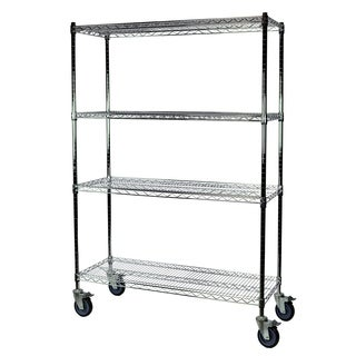 Shelving-Pro Chrome Wire Shelving with Wheels, 24 x 48 x 63, 4 Shelves