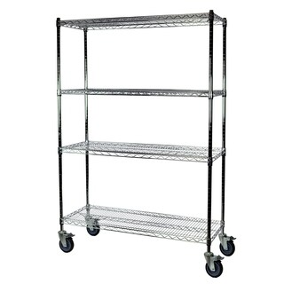 Shelving-Pro Chrome Wire Shelving with Wheels, 24 x 48 x 74, 4 Shelves