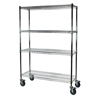Shelving-Pro Chrome Wire Shelving with Wheels, 24 x 72 x 74, 4 Shelves