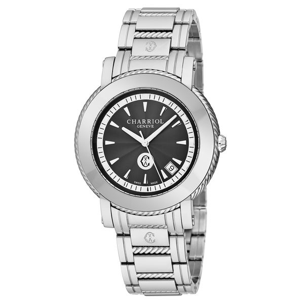 05989e5bf6b Shop Charriol Men s P42S.P42.003  Parisi  Black Dial Stainless Steel Swiss Quartz  Watch - Free Shipping Today - Overstock - 21382754