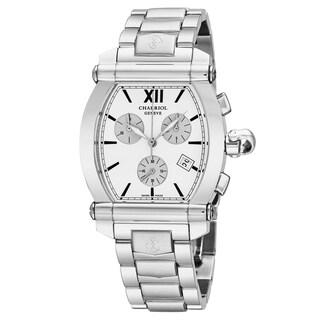 Charriol Men's 060T.100.712 'Columbus Tonneau' White Dial Stainless Steel Chronograph Swiss Quartz Watch