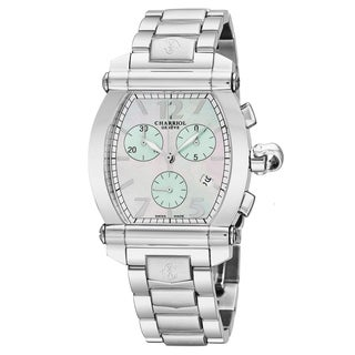Charriol Men's 060T.100.2056 'Columbus Tonneau' Mother of Pearl/Green Dial Stainless Steel Chronograph Swiss Quartz Watch