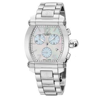 Charriol Men's 060T.100.718 'Columbus Tonneau' Mother of Pearl/Blue Dial Stainless Steel Chronograph Swiss Quartz Watch