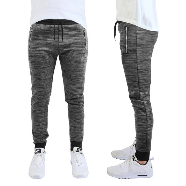 Mens Marled Stretch Joggers with Zipper Pockets