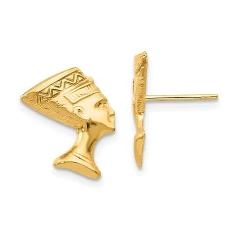 Curata Solid 14k Yellow Gold Polished Nefertiti Post Earrings (11mmx13mm) - Orange
