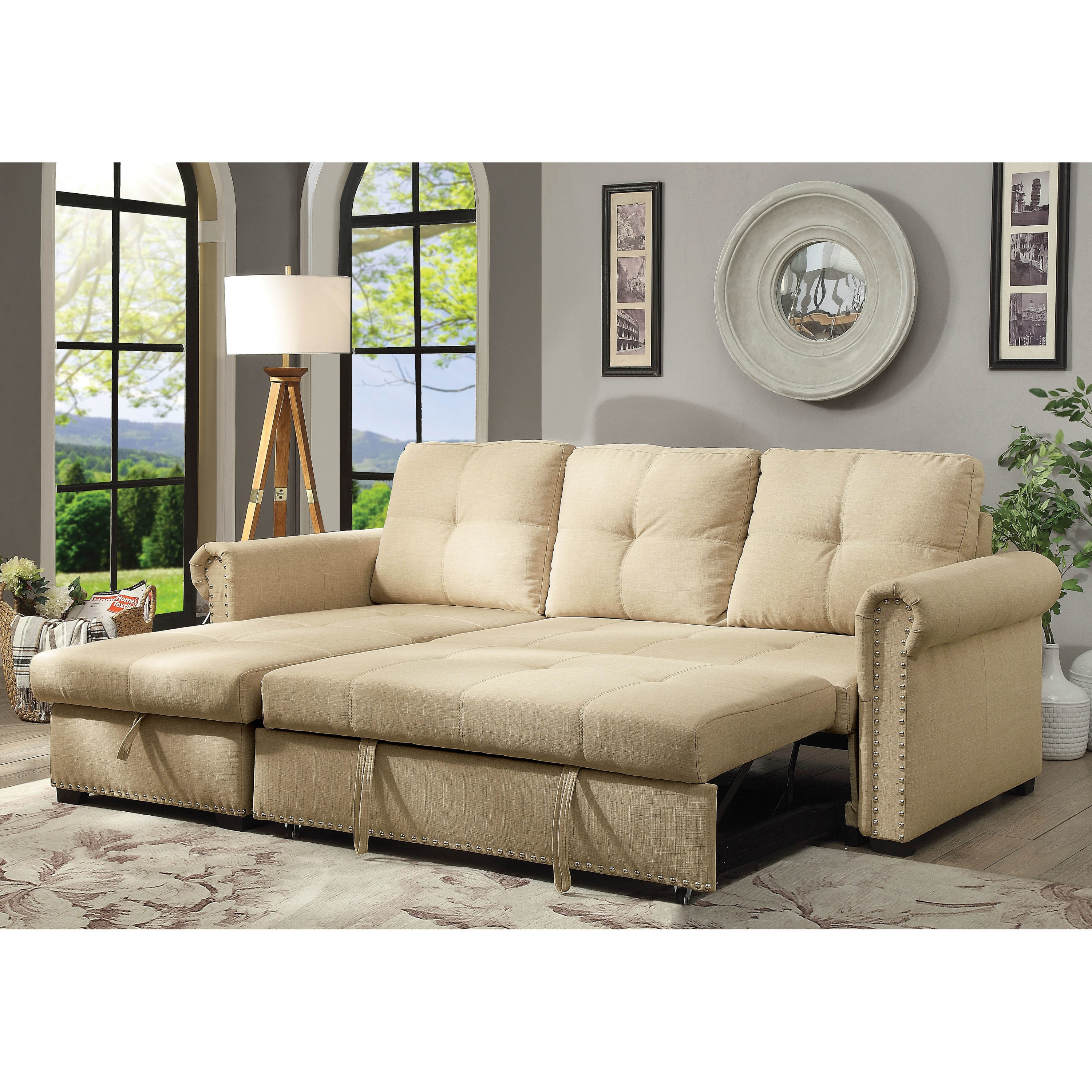 Furniture of America Dell Transitional Beige Sectional Sofa Sleeper
