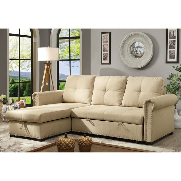 Furniture of America Austin Beige Linen Sectional Sofa Sleeper