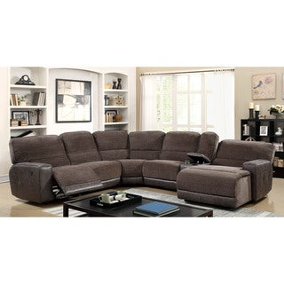 Furniture of America Meridian Brown Reclining Chenille Sectional Sofa