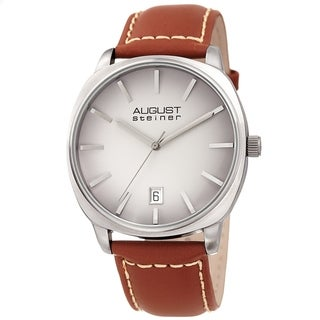 August Steiner Men's Classic Date Stitched Tan Leather Strap Watch