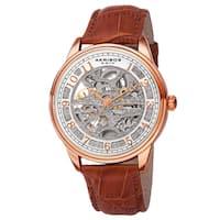 Akribos XXIV Men's Automatic Skeletal Brown Leather Strap Watch