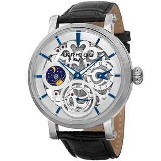Akribos XXIV Men's Automatic Multifunction Dual-Time Skeleton Black Leather Strap Watch