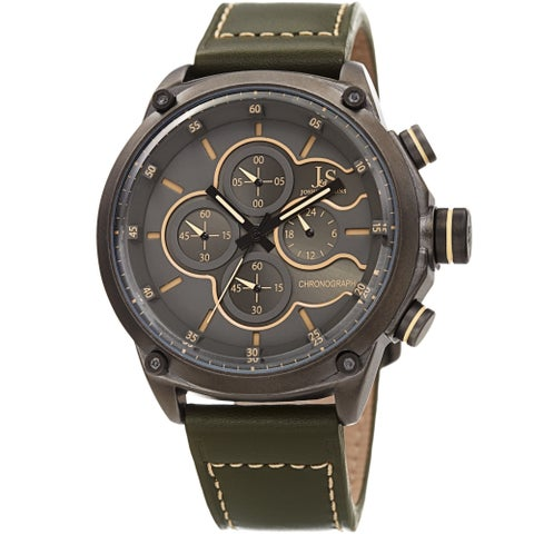 Joshua & Sons Men's Chronograph Stitched Army Green Leather Strap Watch