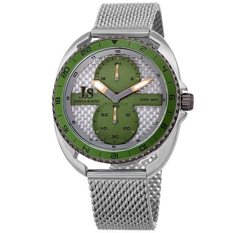 Joshua & Sons Men's Green Rotating Chronograph Mesh Strap Watch