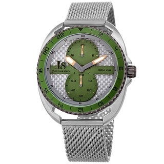 Joshua & Sons Men's Green Rotating Chronograph Mesh Strap Watch