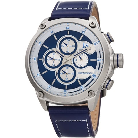 Joshua & Sons Men's Chronograph Stitched Blue Leather Strap Watch