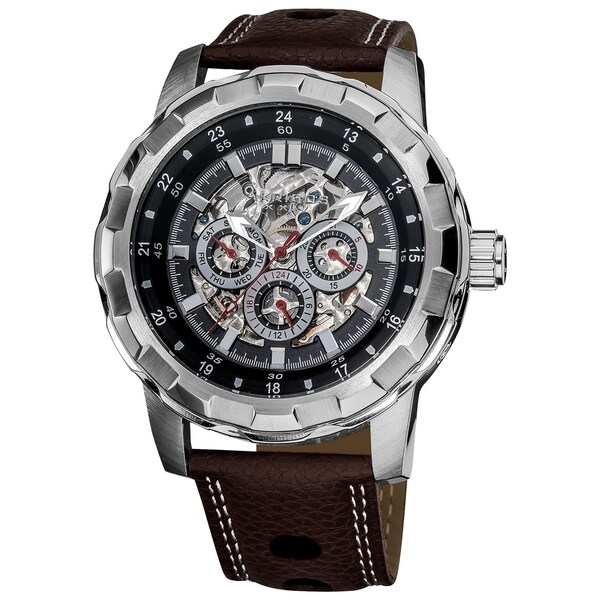 Akribos XXIV Men's Automatic Multifunction Skeletal Brown Leather Strap Watch