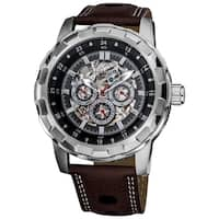 Akribos XXIV Men's Automatic Multifunction Skeletal Brown Leather Strap Watch
