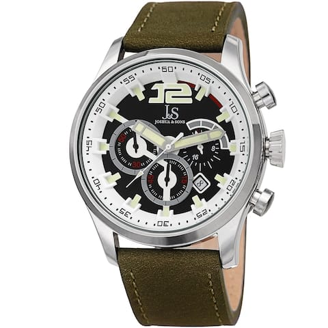 Joshua & Sons Men's Chronograph Date Sports Car Design Green Leather Strap Watch