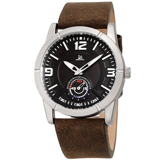 Joshua & Sons Men's Embossed Brown Distressed Leather Strap Watch
