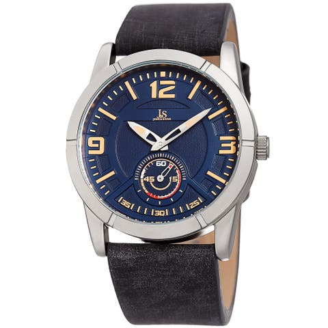 Joshua & Sons Men's Embossed Black Distressed Leather Strap Watch