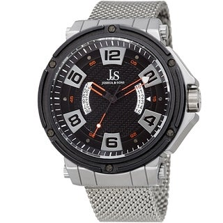 Joshua & Sons Men's Date Wheel Silver-Tone Mesh Strap Watch
