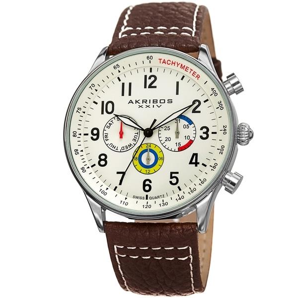 Akribos XXIV Men's Tachymeter Date Brown Leather Strap Watch